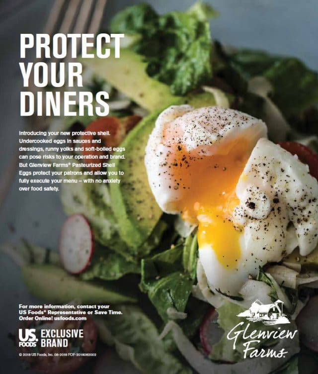 US Foods and Glenview Farms advertise a new innovation in foodservice. A Pasteurized Eggshell Product